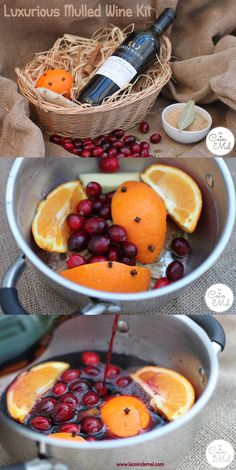 Luxurious Mulled Wine Kit - Cranberry, Ginger & Orange Mulled WIne - The Ideal Homemade Christmas Present - think cranberries, fresh ginger, cloves, sugar, a cinnamon stick, a bay leaf, an orange & a bottle of red wine