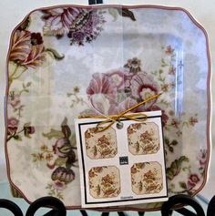 222 fifth gabrielle red dinner plates square new in box porcelaine ...