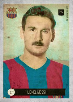 Messi tuneado por el sitio Paladar Negro, como un futbolista de antaño.