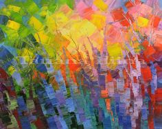 Far-off Fables by Tatiana iliina, abstract landscape forest painting, summer, colorful