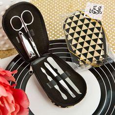Modern Geometric Design Shiny Black and Gold Manicure Set #manicureset #bridalshower #partyfavor