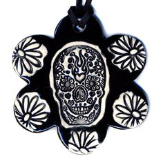 Day of the Dead Skull Flower Ceramic Necklace in Black by surly, $22.00
