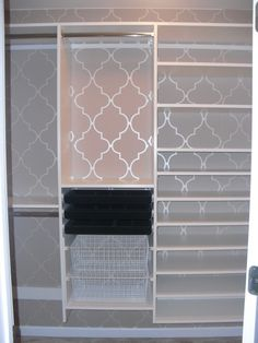 DYI - Closet inspiration, amazing what a little bit of wallpaper or stencils can do!