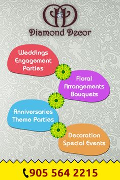 Are you planned to hire a decorator for your Anniversary? Call Diamond Decor wedding anniversary decor in Mississauga. Call Us Today and book for your anniversary Decor Wedding, Wedding Decorations, Diamond Decorations, Gta, Wedding Anniversary, Wedding Engagement, Special Events, Floral Arrangements, Party Themes