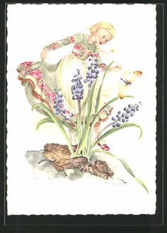 Künstler-AK Schwarz-Torino: Mädchen betrachtet Blumen, Schmetterling 0