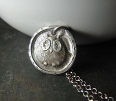 Artisan Jewelry - Sterling Silver Owl Necklace With Fine Silver Pendant, Rustic Jewelry, Handcrafted Silver, Urban Chic Jewelry