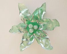 Green silver brooch made from plastic bottles PET and beads upcycle jewelry wedding jewelry