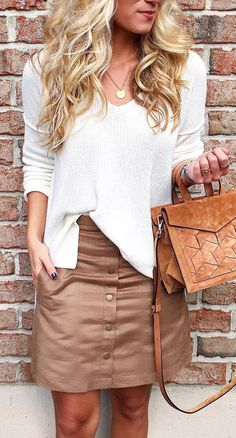 casual style outfit blouse + skirt + bag