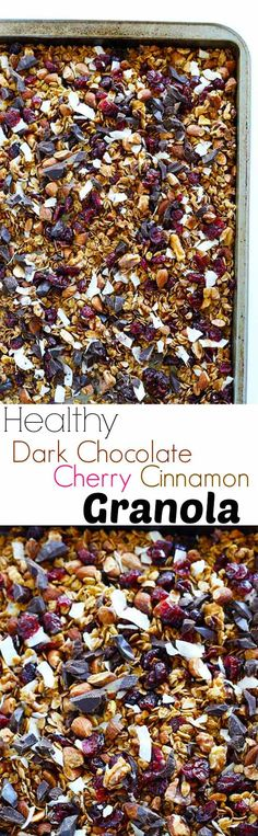 Healthy Dark Chocolate Cherry Cinnamon Granola is the PERFECT snack to toss in your purse for on-the-go or top with milk for a breakfast! quick and easy! Vegan+Gluten Free / TwoRaspberries.com