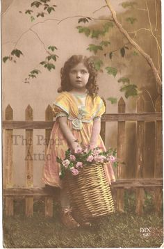 Cute Little Girl with Pink Roses in Basket Antique Vintage French Photo Postcard