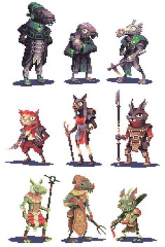 narwolf: Here is the full set of goblins I made for Goblin Week! I was kind of slow to finish of the middle row of mountain goblins so I didn't get around to posting them until today! How To Pixel Art, Pixel Animation, 8 Bit Art, 8 Bits, Pixel Art Games, 2d Art, Character Design Inspiration, Creature Design, Goblin