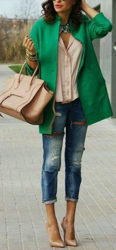 Greeny, pale & jeans!