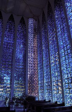 Dom Bosco Sanctuary, Brasilia, Carlos Alberto Naves, 1963. Stained glass by Hubert Van Doorne. View this on the map