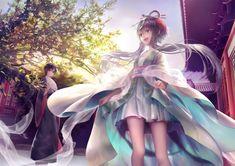 Konachan.com - 149114 chinese_clothes fan luo_tianyi mayoimayoi vocaloid yuezheng_ling.jpg (1488×1052)