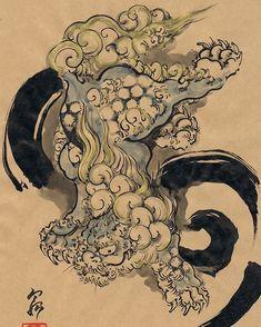 Artist: Hokusai? #japanesemythology #shishilion #lion #fudog #samurai1nk #hokusai #japaneseart