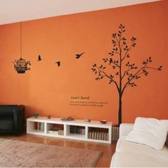 Tree and Bird Cage Removable Wall Stickers