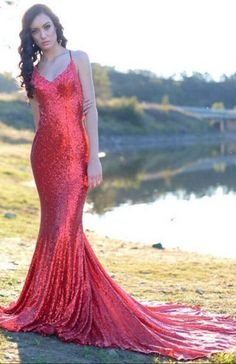 Red Sequin Prom Dresses V Neck Long Sexy Backless Evening Dresses Elegant Formal  Gowns Mermaid Party Pageant Dresses With Train eb01ca260bc5