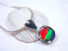 Ammolite Jewelry Pendant.11x9mm Grade AA Beauty in Sterling. - Ammolite Jewelry From Canada