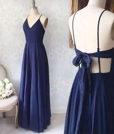 Simple v neck blue long prom dress, blue evening dress, customized service and Rush order are available