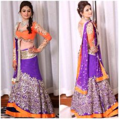 Purple Orange lehenga #lehenga #choli #indian #hp #shaadi #bridal #fashion #style #desi #designer #blouse #wedding #gorgeous #beautiful
