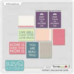 Quality DigiScrap Freebies: Mother's Day journal cards freebie from Suzy Q Scraps