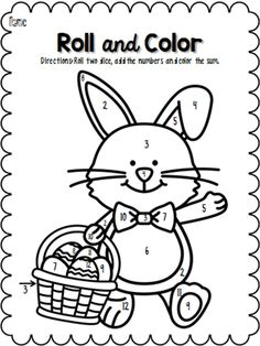 Easter Roll and Color pages! Colouring Pages, Coloring Sheets, Family Holiday, Holiday Ideas, Engage In Learning, Math School, Easter Printables, Worksheets For Kids, Math Activities