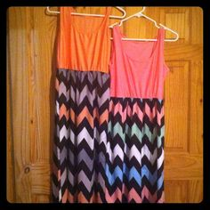 Two chevron maxi dresses No size, bought from online boutique. Fit like a L/XL. Good condition. Dresses Maxi