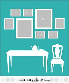 Photo Wall Display Templates - plan how your exact arrangement will look before you put any holes in your walls!