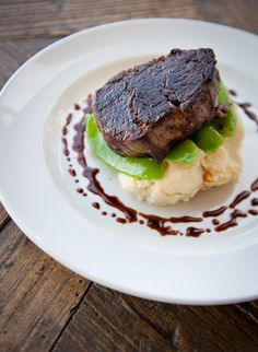 Grass fed a eye fillet steak on a garlic mash, available from the Berth Restaurant