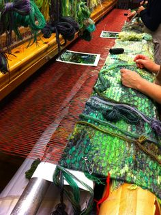 "Handweaving (Helena Hernmarck ""Spirit Bear"" on the loom, Alice Lund Textiles Ltd)"