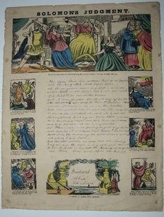 Publisher: T. Goode, Clerkenwell. This is a large format writing practice sheet, 50.5 by 38 cm. The title of the sheet is Solomon's Judgment, and the large header woodcut portrays this biblical story. | eBay!