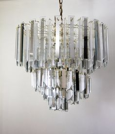 Lucite And Glass Chandelier Waterfall Vintage