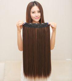 Longue ligne droite synthétique extension de cheveux, 24 pouces Résistant À La Chaleur Naturel postiche cheveux, pleine Tête Clip dans les Cheveux Extensions