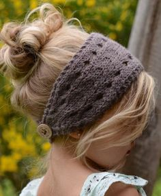 Knitting Pattern for Veronya Warmer Headband - Versatile headband in adult, child, and toddler sizes can be worn with button in back or in front, and can even be worn as a cowl.
