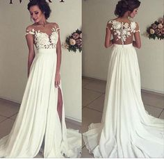 Glamorous prom dress,A-line Off the Shoulder See-through Sleeveless Beaded Lace Appliqued Bodice Mini length Beach Wedding Dress