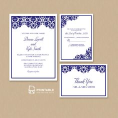 Damask Frame Wedding Invitation Templates – Set