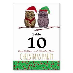 Santa Owl and Elf Owl Table Number Card
