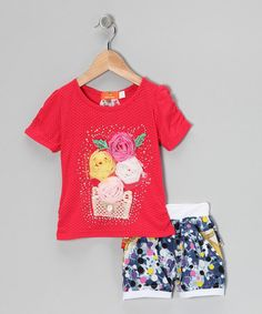 Take a look at this Red & Blue Pin Dot Rosette Top & Shorts - Toddler & Girls by Dolce Liya on #zulily today!