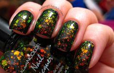 orly - wild wisteria  kleancolor - chunky holo black