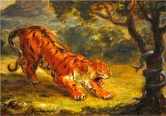Tiger and Snake - Eugene Delacroix