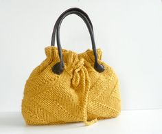 NzLbags New - Mustard Knit Bag, Handbag - Shoulder Bag, Leather Strap Nr-0181