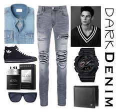 """Dark Denim"" by pbamberry ❤ liked on Polyvore featuring MANGO MAN, AMIRI, adidas, Bulgari, Yves Saint Laurent, G-Shock, men's fashion, menswear, darkdenim and menswearessential"