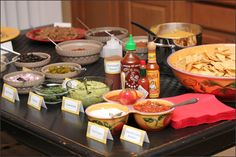 Nacho Bar food and decoration items. Bbq Party, Party Snacks, Mexican Food Recipes, Dinner Recipes, Healthy Recipes, Bar Food, Food Bars, Nacho Bar, Giant Cupcakes