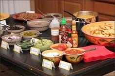 Nacho Bar food and decoration items.