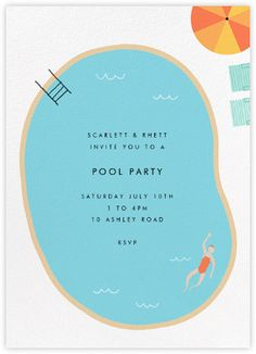 Maude's Pool - Paperless Post #poolparty design. V cool #party #invitations