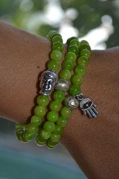 Set of 3 Lime Green Beaded Stretch Bracelets by uniquebeadingbyme #buddha #hamsa #bracelets
