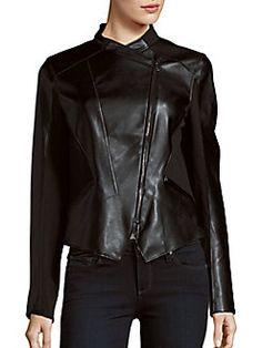 T Tahari - Asymmetric Hem Zip-Front Moto Jacket