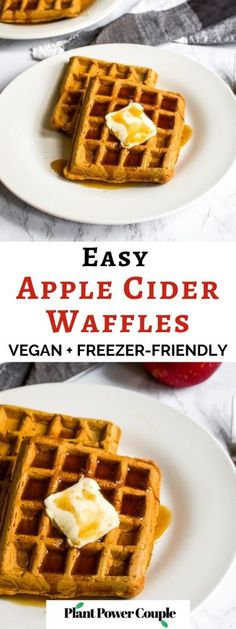 These vegan apple cider waffles with ginger snap syrup are a fun fall breakfast recipe without any butter, milk, or eggs! It's an easy way to use up extra apple cider and apple sauce. Plus, they can even be made into apple cider pancakes if you don't have a waffle maker. Store them in the freezer and reheat them in the toaster for easy comfort food breakfast or snack on the go. #applecider #applerecipe #waffles #veganwaffles #fallbreakfast #veganbreakfast #dairyfreebreakfast Best Vegan Recipes, Vegan Breakfast Recipes, Apple Recipes, Fall Recipes, Holiday Recipes, Beef Recipes, Waffles, Pancakes, Dairy Free Breakfasts