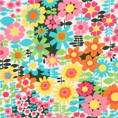 white cute flower fabric by Michael Miller USA