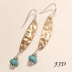 Hammered Bronze, Turquoise Jasper and Sterling Silver Earrings by FelicityDesignsLLC on Etsy